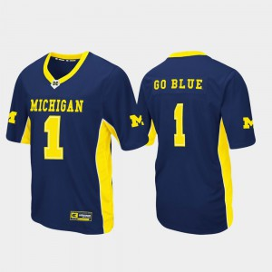 #1 Michigan Wolverines For Men's Max Power Football Jersey - Navy