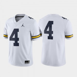 #4 Michigan Wolverines College Football Game For Men's Jersey - White