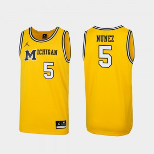 #5 Adrien Nunez Michigan Wolverines 1989 Throwback College Basketball Replica For Men's Jersey - Maize