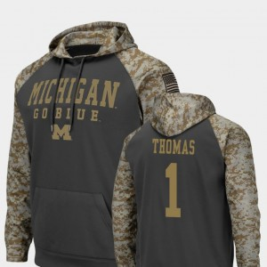 #1 Ambry Thomas Michigan Wolverines United We Stand For Men's Colosseum Football Hoodie - Charcoal