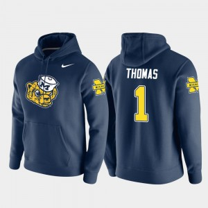 #1 Ambry Thomas Michigan Wolverines Vault Logo Club For Men Pullover Hoodie - Navy