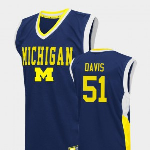 #51 Austin Davis Michigan Wolverines For Men's Fadeaway College Basketball Jersey - Blue