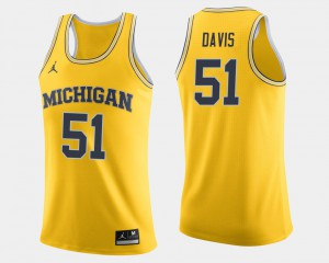 #51 Austin Davis Michigan Wolverines Men College Basketball Jersey - Maize
