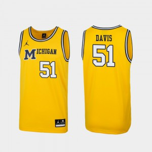 #51 Austin Davis Michigan Wolverines Replica For Men 1989 Throwback College Basketball Jersey - Maize