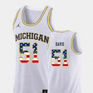 #51 Austin Davis Michigan Wolverines Mens USA Flag College Basketball Jersey - White
