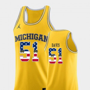 #51 Austin Davis Michigan Wolverines USA Flag For Men College Basketball Jersey - Yellow