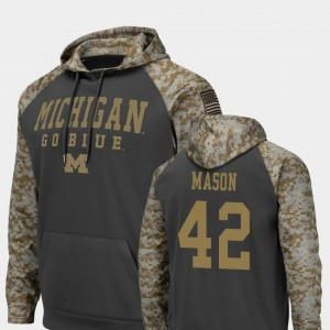 #42 Ben Mason Michigan Wolverines Mens Colosseum Football United We Stand Hoodie - Charcoal