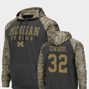 #32 Berkley Edwards Michigan Wolverines United We Stand Colosseum Football For Men's Hoodie - Charcoal