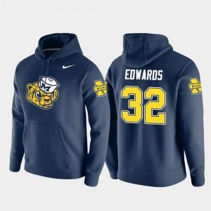 #32 Berkley Edwards Michigan Wolverines For Men's Vault Logo Club Pullover Hoodie - Navy