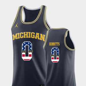 #0 Brent Hibbitts Michigan Wolverines College Basketball USA Flag Men's Jersey - Navy