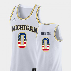 #0 Brent Hibbitts Michigan Wolverines For Men's USA Flag College Basketball Jersey - White