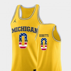 #0 Brent Hibbitts Michigan Wolverines Mens USA Flag College Basketball Jersey - Yellow