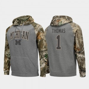 #1 Ambry Thomas Michigan Wolverines For Men's Raglan College Football Realtree Camo Hoodie - Charcoal