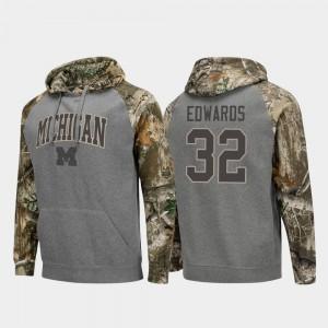 #32 Berkley Edwards Michigan Wolverines Men's Raglan College Football Realtree Camo Hoodie - Charcoal