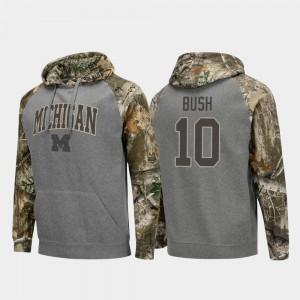 #10 Devin Bush Michigan Wolverines Raglan College Football Realtree Camo For Men's Hoodie - Charcoal
