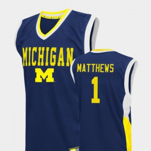 #1 Charles Matthews Michigan Wolverines College Basketball Fadeaway For Men Jersey - Blue
