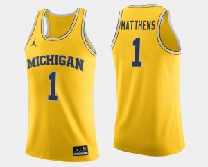 #1 Charles Matthews Michigan Wolverines College Basketball Mens Jersey - Maize