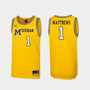 #1 Charles Matthews Michigan Wolverines Men's 1989 Throwback College Basketball Replica Jersey - Maize
