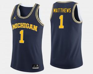 #1 Charles Matthews Michigan Wolverines College Basketball Men's Jersey - Navy