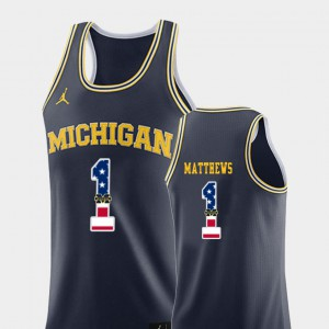 #1 Charles Matthews Michigan Wolverines College Basketball USA Flag For Men Jersey - Navy