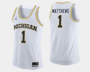 #1 Charles Matthews Michigan Wolverines College Basketball Men's Jersey - White