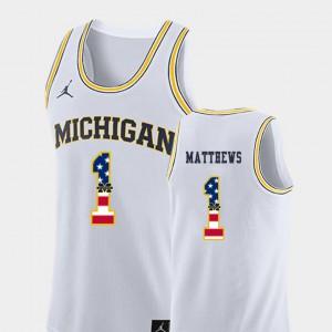 #1 Charles Matthews Michigan Wolverines Men's USA Flag College Basketball Jersey - White