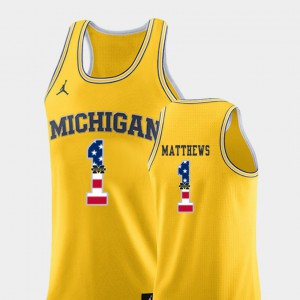 #1 Charles Matthews Michigan Wolverines USA Flag For Men's College Basketball Jersey - Yellow