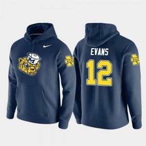 #12 Chris Evans Michigan Wolverines Pullover Vault Logo Club Men Hoodie - Navy