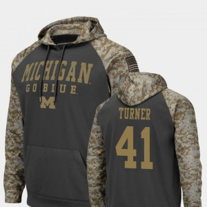 #41 Christian Turner Michigan Wolverines United We Stand Colosseum Football For Men Hoodie - Charcoal