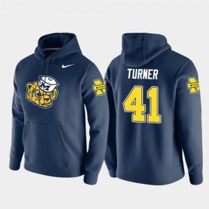 #41 Christian Turner Michigan Wolverines Vault Logo Club Men's Pullover Hoodie - Navy