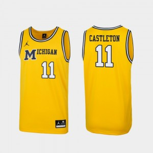#11 Colin Castleton Michigan Wolverines Replica 1989 Throwback College Basketball Men's Jersey - Maize