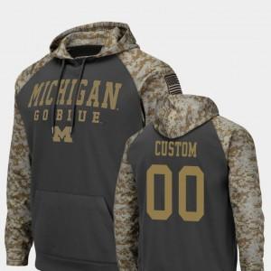#00 Michigan Wolverines Men Colosseum Football United We Stand Custom Hoodie - Charcoal
