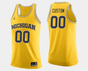 #00 Michigan Wolverines College Basketball For Men's Customized Jersey - Maize