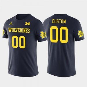 #00 Michigan Wolverines Men's Cotton Football Future Stars Custom T-Shirt - Navy