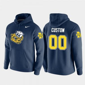 #00 Michigan Wolverines Pullover Vault Logo Club Men Custom Hoodie - Navy