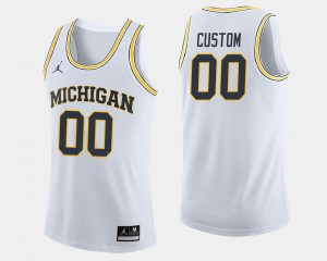 #00 Michigan Wolverines College Basketball Mens Custom Jersey - White