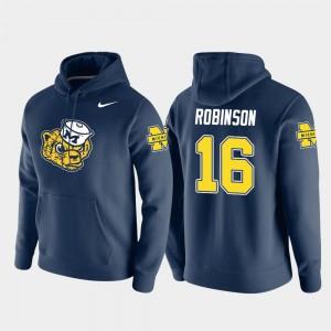 #16 Denard Robinson Michigan Wolverines Pullover Vault Logo Club For Men's Hoodie - Navy
