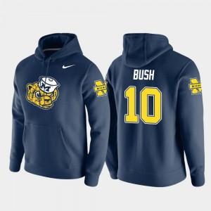 #10 Devin Bush Michigan Wolverines For Men Pullover Vault Logo Club Hoodie - Navy