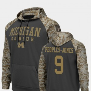 #9 Donovan Peoples-Jones Michigan Wolverines Colosseum Football United We Stand For Men's Hoodie - Charcoal