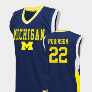 #22 Duncan Robinson Michigan Wolverines Mens College Basketball Fadeaway Jersey - Blue