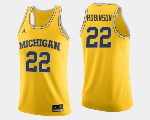 #22 Duncan Robinson Michigan Wolverines College Basketball For Men Jersey - Maize