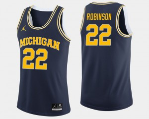 #22 Duncan Robinson Michigan Wolverines For Men's College Basketball Jersey - Navy