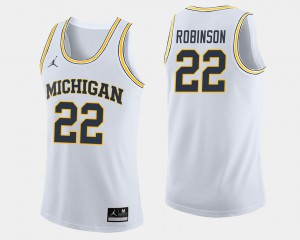 #22 Duncan Robinson Michigan Wolverines College Basketball Mens Jersey - White