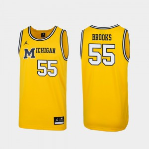 #55 Eli Brooks Michigan Wolverines Replica 1989 Throwback College Basketball For Men's Jersey - Maize