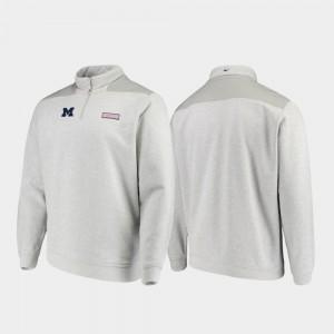 Michigan Wolverines Shep Shirt Mens Quarter-Zip Jacket - Heathered Gray
