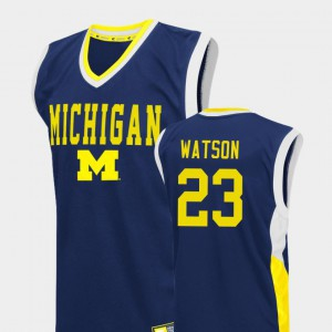 #23 Ibi Watson Michigan Wolverines Fadeaway College Basketball For Men's Jersey - Blue