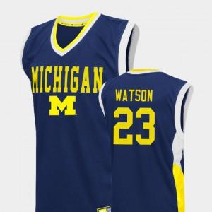 #23 Ibi Watson Michigan Wolverines Fadeaway College Basketball For Men's Jersey - Blue