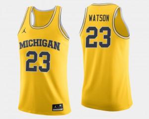 #23 Ibi Watson Michigan Wolverines Men College Basketball Jersey - Maize