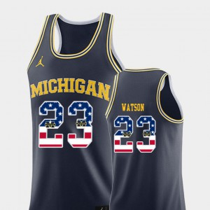 #23 Ibi Watson Michigan Wolverines USA Flag College Basketball Men Jersey - Navy