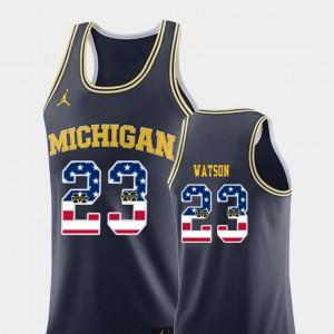 #23 Ibi Watson Michigan Wolverines USA Flag College Basketball Men Jersey - Navy